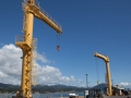 Dry dock hoists on pier at Port Orford