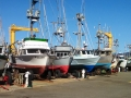 Fishing boats in dry dock at Port Orford