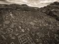 Bishop Sky Stone petroglyphs on the Volcanic Tableland - black & white