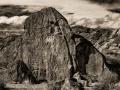 Chalfant Valley petroglyphs on the Volcanic Tableland - black & white