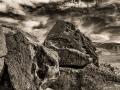 Chidago Canyon petroglyphs on the Volcanic Tableland - black & white