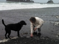 Mom & Pepper playing on First Beach