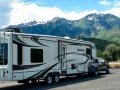 On the way to Salt Lake City - our rig at rest area on I-80