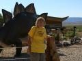 Kim & dino-friend at Dinosaur National Monument, Utah/Colorado