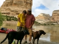 Kim, Jerry & pups at Steamboat Rock - Dinosaur National Monument