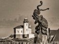 Kraken & the Lighthouse - Coquille River Lighthouse & Octopus Carved Wood Sculpture