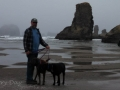 Jerry with the pups at Bandon Beach
