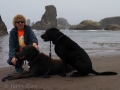 Kim and the pups at Bandon Beach