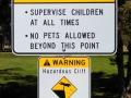 Warning sign at Crooked River Canyon, Peter Skene Ogden State Park, Oregon