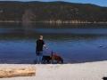 Jerry & pups at Paulina Lake, Lava Lands, Oregon