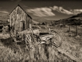 Bannack State Park/Ghost Town - Wagon & Shed - black & white