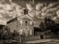 Bannack State Park/Ghost Town - Schoolhouse & Masonic Temple - black & white