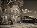 Bannack State Park/Ghost Town - Courthouse/Meade Hotel - black & white