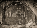 McGee Springs rock art panel by night - Dinosaur National Monument, Utah/Colorado - black and white
