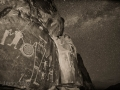 McGee Springs rock art panel and Milky Way - Dinosaur National Monument, Utah/Colorado - black and white