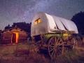 Wagon, Cabin and Milky Way at Chew Ranch - Dinosaur National Monument, Utah/Colorado