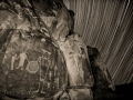 McGee Springs rock art panel and star trails - Dinosaur National Monument, Utah/Colorado - black and white
