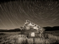 Potomac Ranch - Abandoned Log Cabin & Star Trails - black & white