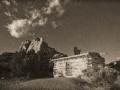 Swasey Cabin at Moonrise - Black and White, , San Rafael Swell, Utah