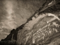 Moonlit night sky over the Great Hunt rock art panel - Nine Mile Canyon - black and white