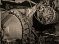 Abandoned machinery - Harper ghost town - Nine Mile Canyon - black and white