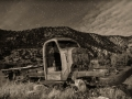 Abandoned truck - Harper ghost town - Nine Mile Canyon - black and white