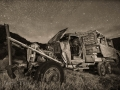 Abandoned truck nightscape - Harper ghost town - Nine Mile Canyon - black and white