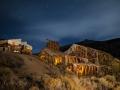 Historic Chemung Mine ruins by night
