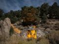 Historic Masonic Mine ruins by night