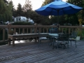 Patio deck & pond at Rainbows End RV Park