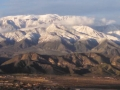 View from CA-243 of fresh snow on Mt. San Gorgonio after winter storm.
